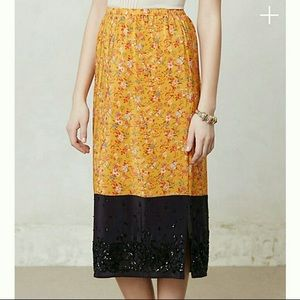 Anthropologie Maeve Silk Beaded Floral Midi Skirt